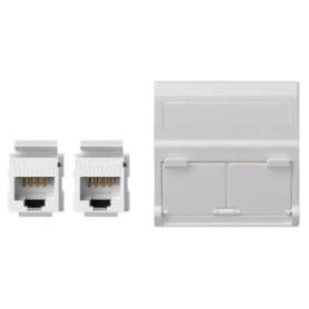 Placa de voz y datos inclinada con guardapolvo de 1 elemento y 2 conectores RJ45 de categoría 6 UTP blanco Simon K45