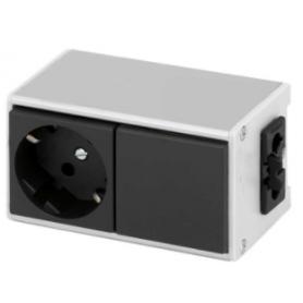 Perfil de aluminio Ofiblock Line configurado y conexión eléctrica mediante conector de 3 polos grafito Simon K45