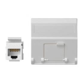 Placa de voz y datos inclinada con guardapolvo de 1 elemento y 1 conector RJ45 de categoría 6 UTP blanco Simon K45