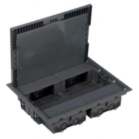 Caja de suelo cuadrada de profundidad reducida para 8 elementos en pavimento o suelo técnico gris Simon K45