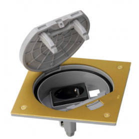 Unidad portamecanismos IP66 con cierre manual y base de enchufe schuko para un conector RJ45 Keystone latón Simon K45