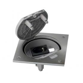 Unidad portamecanismos IP66 con cierre manual y base de enchufe schuko para 1 RJ45 Keystone acero inox Simon K45