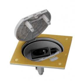 Unidad portamecanismos IP66 con cierre manual y base de enchufe schuko con 1 RJ45 de categoría 6 UTP latón Simon K45