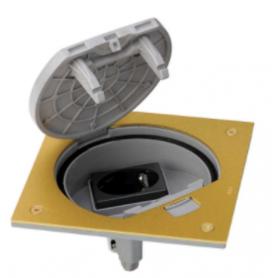 Unidad portamecanismos IP66 con cierre manual y una base de enchufe schuko latón Simon K45