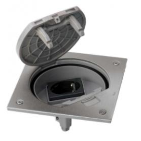 Unidad portamecanismos IP66 con cierre manual y una base de enchufe schuko acero inox Simon K45