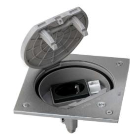 Unidad portamecanismos IP66 con seguridad y base de enchufe schuko con 1RJ45 categoría 5e UTP acero inox Simon K45