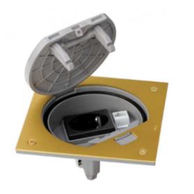 Unidad portamecanismos IP66 con cierre manual y base de enchufe schuko con 1 RJ45 de categoría 5e UTP latón Simon K45