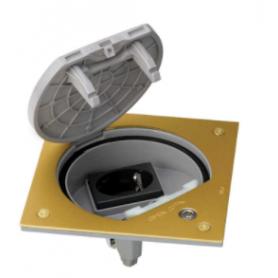 Unidad portamecanismos IP66 con cierre de seguridad y una base de enchufe schuko latón Simon K45