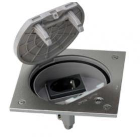 Unidad portamecanismos IP66 con cierre de seguridad y una base de enchufe schuko acero inox Simon K45