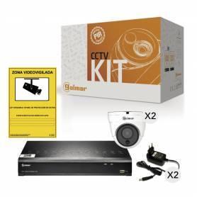 Kit básico 2DHVR1P con DVR y dos domo PIR Golmar